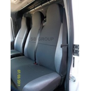 VW Transporter T5 van seat covers anthracite cloth with leatherette trim